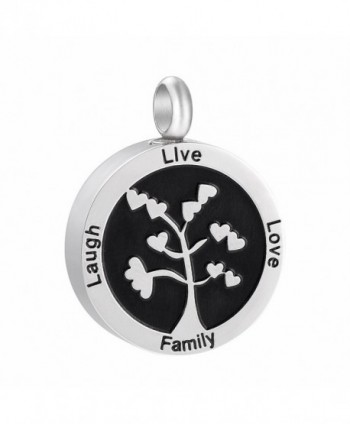 Tree of Life  Stainless Steel Ashes Keepsake Urn Necklace Cremation Jewelry Memorial Pendant Family Tree - CJ186SYT9WA