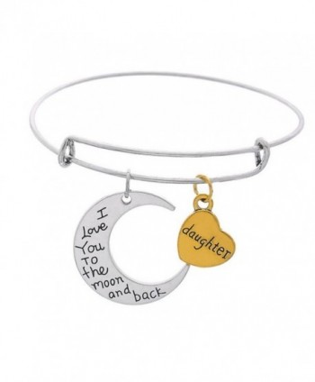 "Moon And Heart Pendants ""Mom I Love You To The Moon And Back "" Expandable Wire Bangle Bracelet - Daughter - CV17AZHZKRA"
