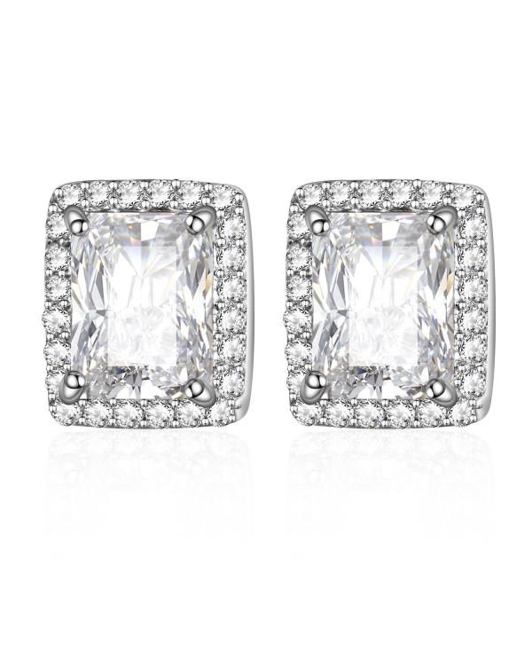 HONGYE Silver Plated Cubic Zirconia Asscher-Cut Halo Stud Earrings - FBAHONGYEE055 - C612JIJN32H