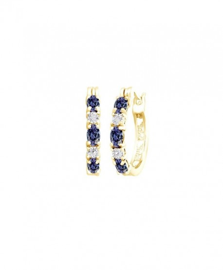 Blue Simulated Tanzanite and White Cubic Zirconia Hoop Earrings In 14k Gold Over Sterling Silver - C112NZP3BBN