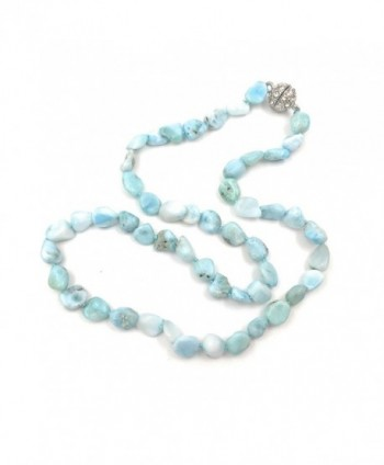 "18"" Natural Stone Larimar Beads Crystal Magnet Clasp Necklace - CZ18365Z4SZ"
