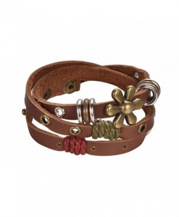 Brown Leather Rope Wrap Bracelet with Metal Alloy Flower Charm- Beads- and Twine- By Regetta Jewelry - CL12DU3O137