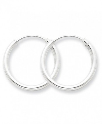 925 Sterling Silver Polished Hollow Tube Endless Hoop Earrings 2mm x 20mm - CH11FW53IFJ