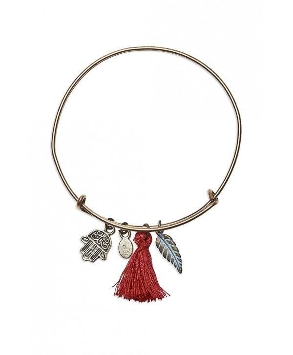 """Locas Biju Handmade Zamak Color Copper with """"Hand of Fatima (Hamsa)""""- Pendants and Pompon Bangle Bracelet - C8128WYJ4E5"""