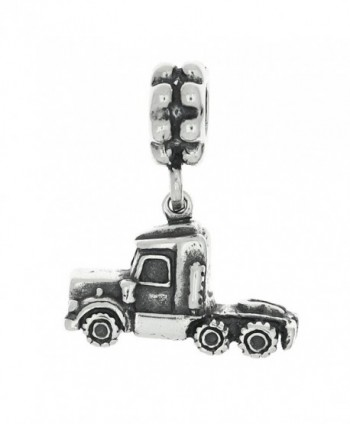 Sterling Silver Oxidized Three Dimensional Semi Truck Dangle Bead Charm - CA119MDZIUF