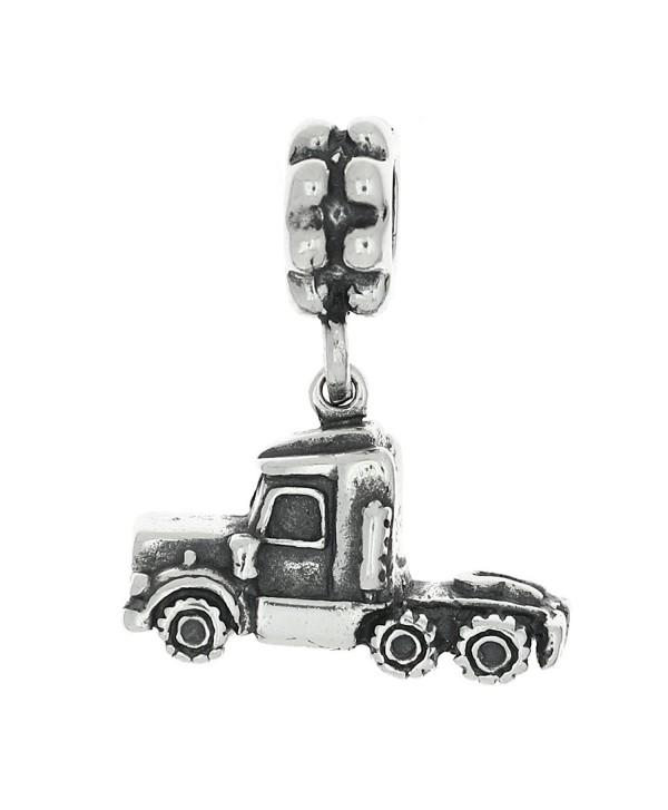 Sterling Silver Oxidized Three Dimensional Semi Truck Dangle Bead Charm - CA119MDZIUF
