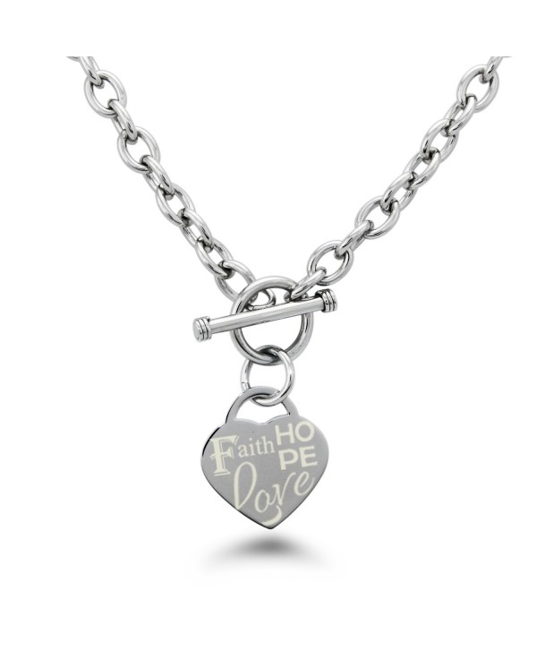 Stainless Steel Faith Love Hope Engraved Heart Charm Bracelet and Necklace - CF12F8YM26J