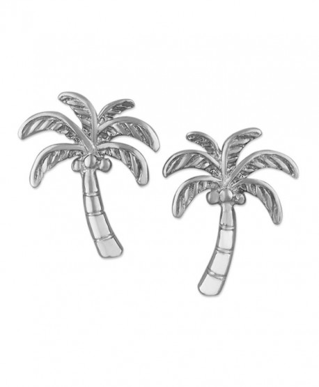 Rhodium Plated Sterling Silver Coconut Palm Tree Stud Earrings - CE11M3THZSX