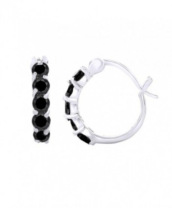 Round Cut Simulated Black Spinel Hoop Earrings In 14K Gold Over Sterling Silver - CF12O56JUHV
