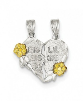 Sterling Silver Two-tone Big Sis Lil Sis 2-Piece Break Apart Heart Charm - CE112G85IZN