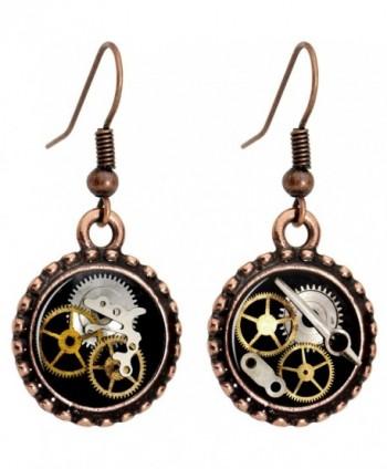 Body Candy Handcrafted Steampunk Pocket Watch Gears Fishhook Earrings - C311FW65VR1