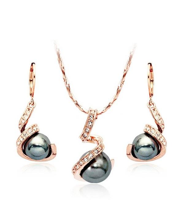 TINARE 18k Rose Gold Plated Austrian Crystal Black Pearl Earring and Necklace Set - Orange - CM129DNMOJ1