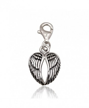 925 Sterling Silver Oxidized Detailed Double Angel Wings- Feather Lobster Clasp Charm - CL11LWHRZTB