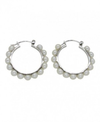 Sterling Silver Cultured Freshwater Pearl Hoop Earrings w/ Click-Down Clasp- 1.2 in (30mm Diam) - CU12HPVVANX