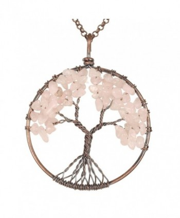 Gemstone Necklace Pendant BRCbeads Crystal - Rose Quartz - CD12N8SMK0X