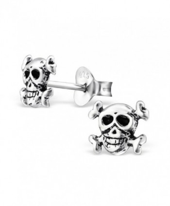 925 Sterling Silver Skull & Crossbones Stud Earrings 28249 - C712IT0GZAR