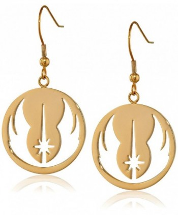 Star Wars Jewelry Jedi Order Gold IP Stainless Steel Dangle Hook Drop Earrings - C811R99SQYJ