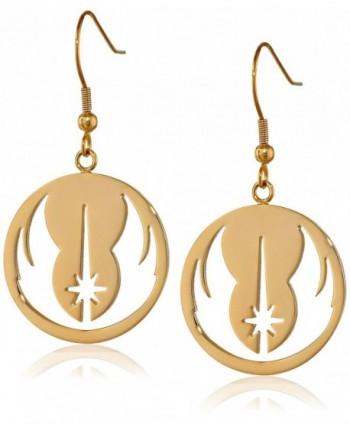 Star Wars Jewelry Jedi Order Gold IP Stainless Steel Dangle Hook Drop Earrings - C811R99SQYJ