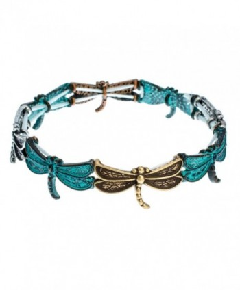 PammyJ Dragonfly Charm with Patina Finish Stretch Bracelet - CR11YMAZGN1