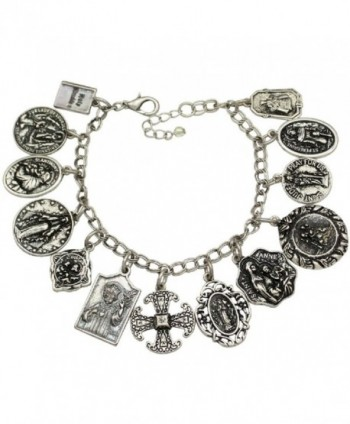 Catholic Religious Prayer Charm Bracelet - Saints Pray For Us - C612J2U4FIN