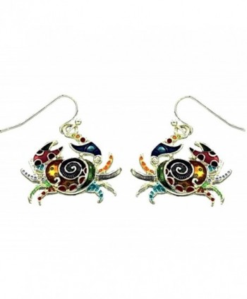 DianaL Boutique Beautiful Crab Earrings Enameled Hand Painted Gift Boxed Fasion Jewelry - CZ11JCRAPY9