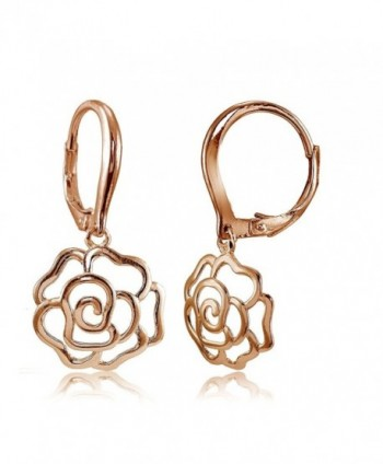 Sterling Silver High Polished Open Rose Dangle Leverback Earrings - CR1827Q5ACT