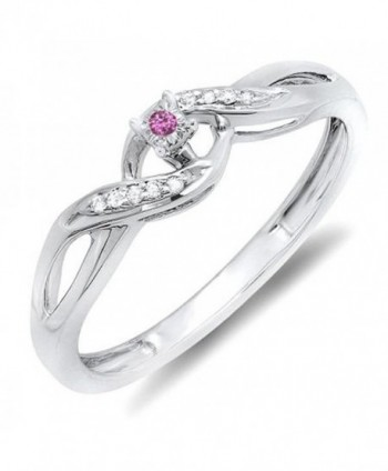 Sterling Silver Round Pink sapphire & White Diamond Crossover Swirl Bridal Promise Engagement Ring - CN11IVFYLO9