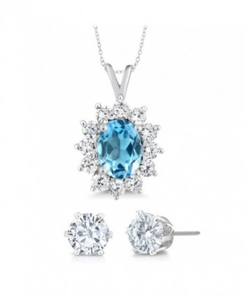 1.50 Ct Oval Swiss Blue Topaz Gemstone Birthstone 925 Sterling Silver Pendant With 18 Inch Silver Chain and Gift - C111Q92KDFH
