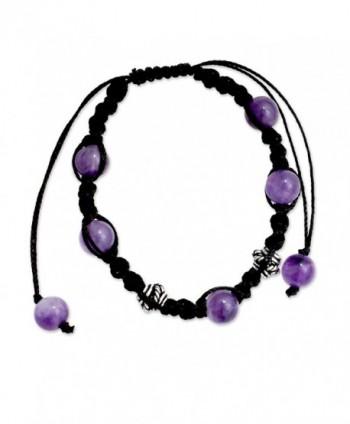 NOVICA Handmade Amethyst Shambhala Style Macrame Bracelet with Sterling Silver Accent 'Violet Peace' - CV127Y4PCY5