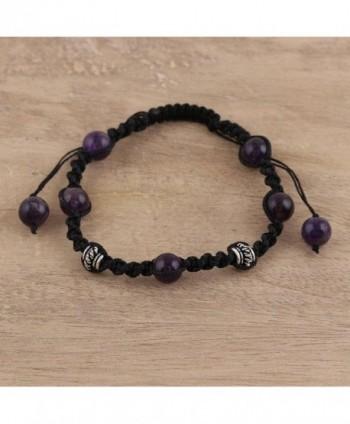 NOVICA Handmade Amethyst Shambhala Bracelet