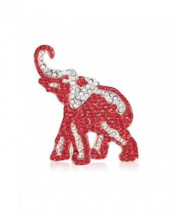 Crimson and Crystal Rhinestone Elephant Brooch - Silver Tone - C717YS75QUX