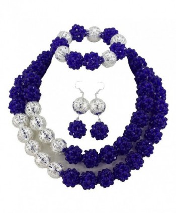 Africanbeads Crystal Ball Jewelry Set-African Beads-Bride Jewelry Set-Wedding Beads Jewelry Set - A-Royal Blue - CT11U8DO6BF