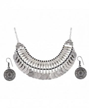 Aradhya Womens Oxidized Necklace Earrings
