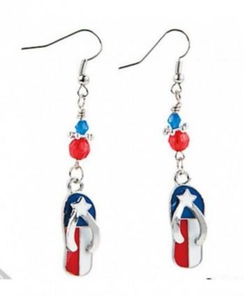 "American Patriotic Flip Flop Dangle Earrings 2.5"" Jewelry - CD11PQF2MAV"