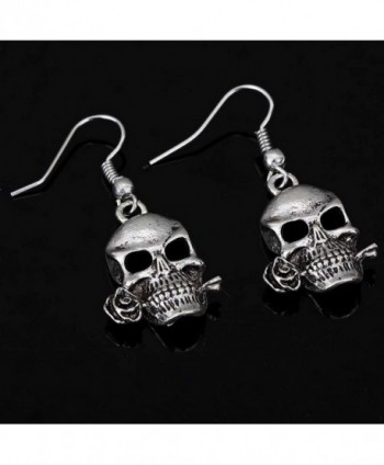Tibetan Silver Cool Hollow Skull Design Ear Wire Hook Dangle Earrings - CN1238QLVP7