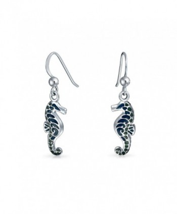 Bling Jewelry Nautical Blue Enamel Seahorse Sterling Silver Drop Earrings - C311EHEDX79
