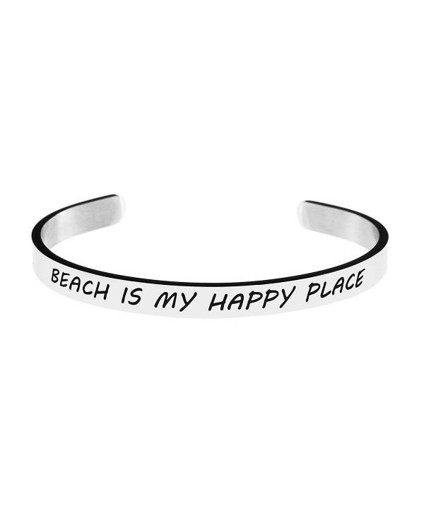 Friendship Bracelet for Best Friend Cuffs Stainless Steel Bangle Open Wide Silver Plain Engraved - CZ187ZE5263