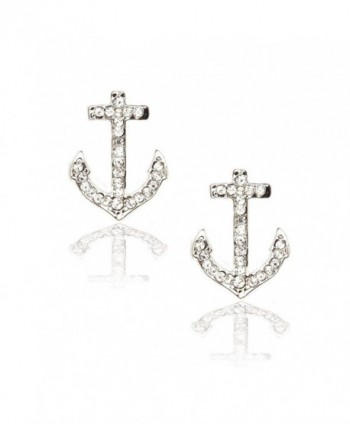 Silver Crystal Anchor Post Earrings - C511BIQ2MB7
