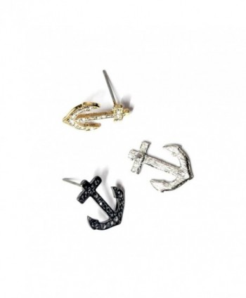 Silver Crystal Anchor Post Earrings