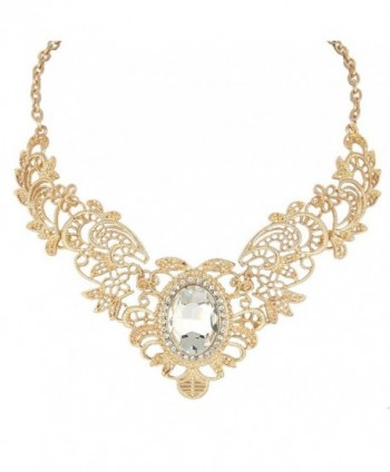 BriLove Women's Vintaged Inspired Floral Pattern Oval Crystal Pendant Statement Necklace Clear Gold-Tone - C411RZ6TTZV