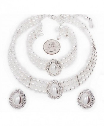 Entire Look White Pearl Bridal Necklace Set- CLIP ON Earring- Bracelet CG3 - CU11FW65BX5