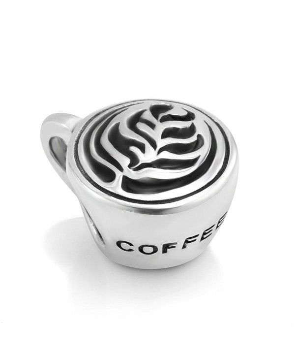 925 Sterling Silver Latte art Coffee Cup Bead Charm Fit Major Brand Bracelet - Leaf - CT11DM5NARB