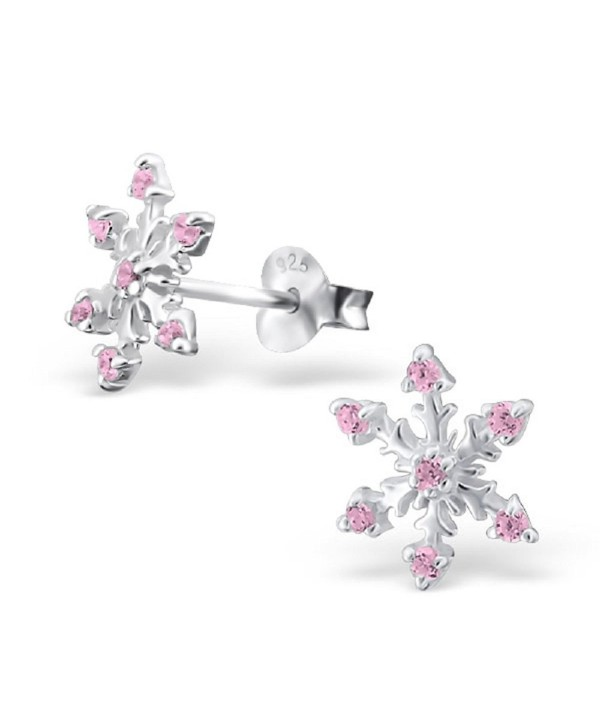 925 Sterling Silver Pink CZ Snowflake Christmas Stud Earrings 19095 - CQ12O66SWGN