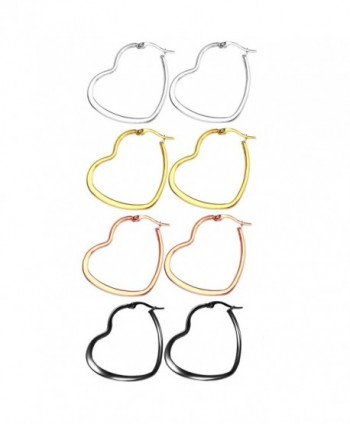 Nicever 40mm 50mm 60mm Stainless Steel Flat Large Heart Hoop Earrings For Women Girls 4 Pairs - 01) 40mm - CT183NZYM6C