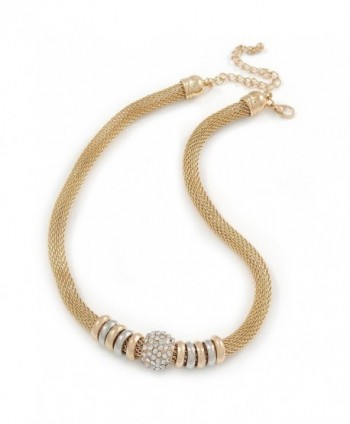 Gold Tone Mesh Necklace with Crystal Ball - 40cm L/ 9cm Ext - C3124LZFD2L