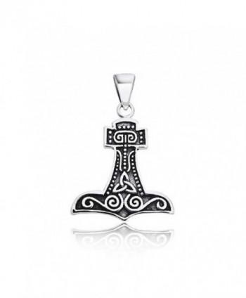 Thors Hammer Celtic Knot Sterling Silver Pendant - CV116Q2KAON