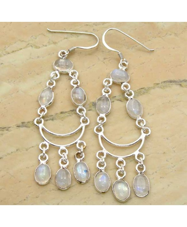 Genuine Rainbow Moonstone 925 Sterling Silver Overlay Handmade Fashion Earrings Jewelry - C6126B91O6J
