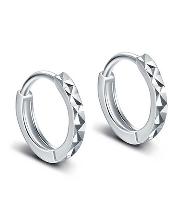 925 Silver Plated Vintage Diamond Cut Smooth Face Womens Hoop Earrings-10MM - C512NU1RPW6