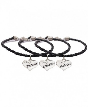 Zealmer Love Heart Shaped Sisters Bangle Bracelet Family Jewelry Knitted Hide Rope Words Stamped - Black - CJ12NU3TV3E