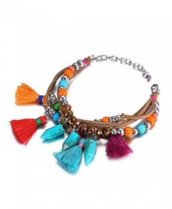 eManco Handmade Bohemian Multicolor Tassel Charm Pendant Long Necklace or Bracelet or Earrings - CQ12BN1Z53X